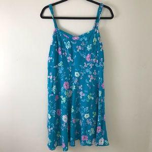 Torrid turquoise floral sleeveless dress